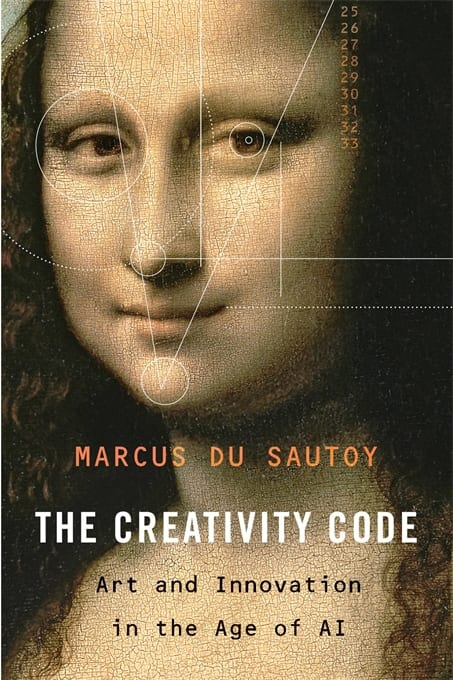 Close of of Mona Lisa with geometric shapes over. Text reads 'the creativity code.'