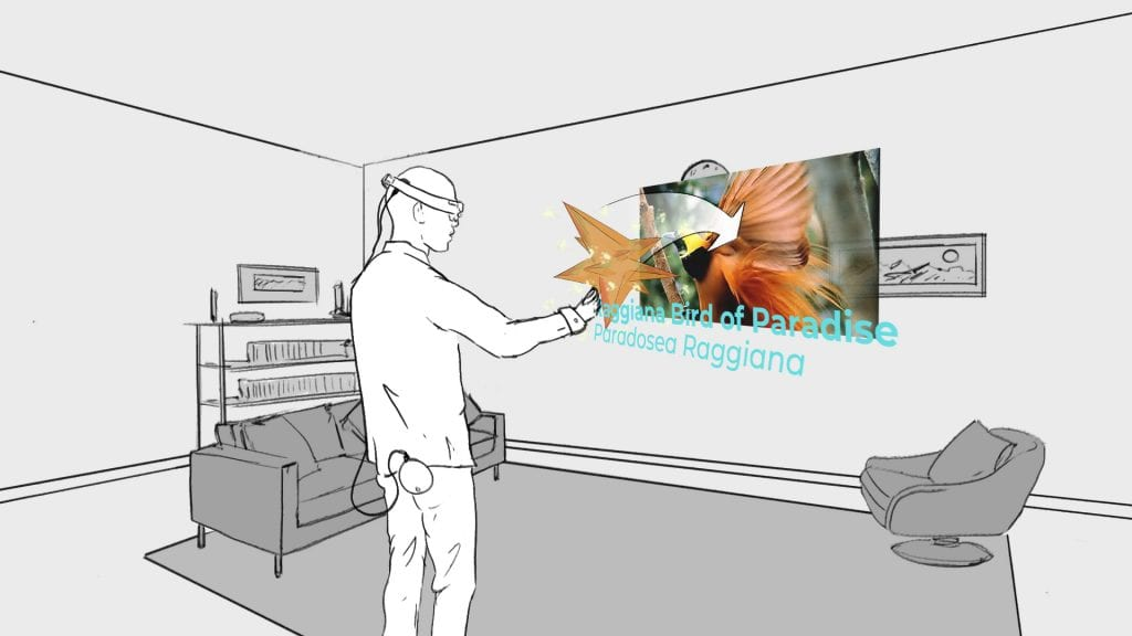 Drawing of man wearing VR headset looking at bird of paradise on wall opposite.