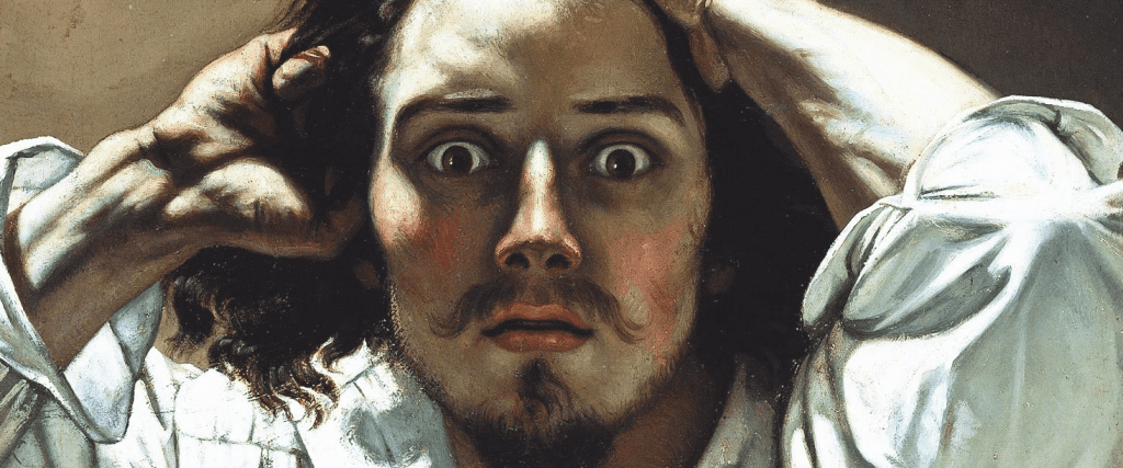 The Desperate Man painting in which man with wide eyes looks at viewer.