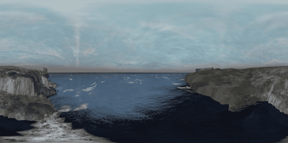 Screen grab of the 360 degree Light Years: Coast