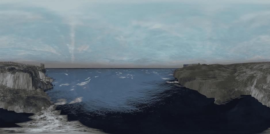 Screen grab of the 360 degree Light Years: Coast