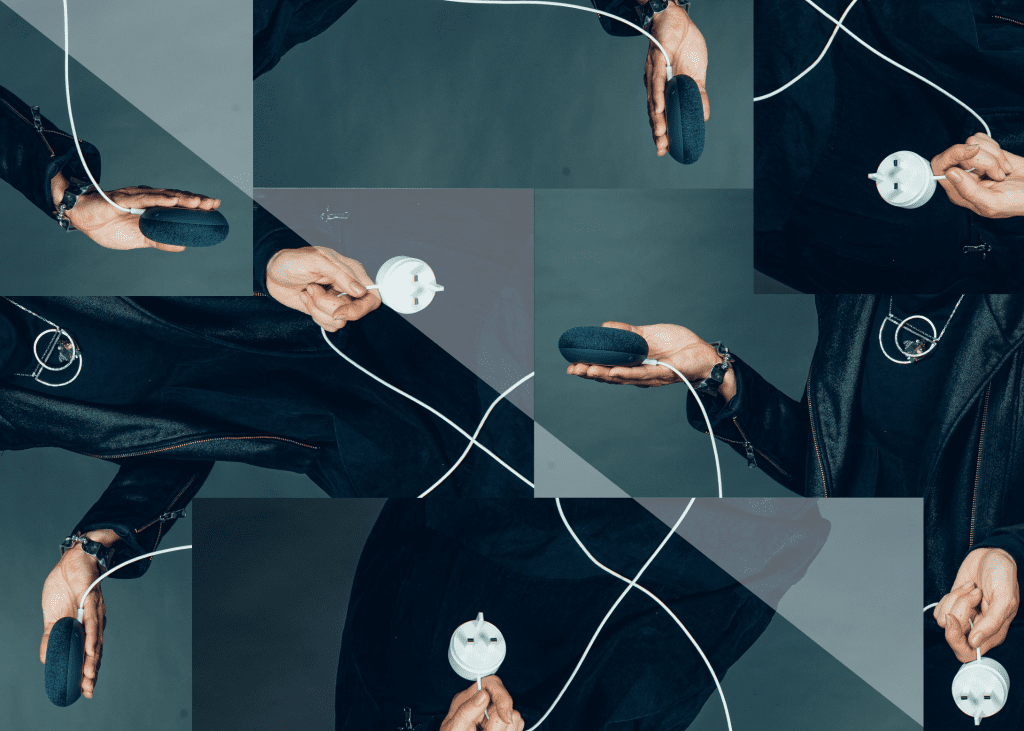 Collage of someone holding a Google Dot and the plug.