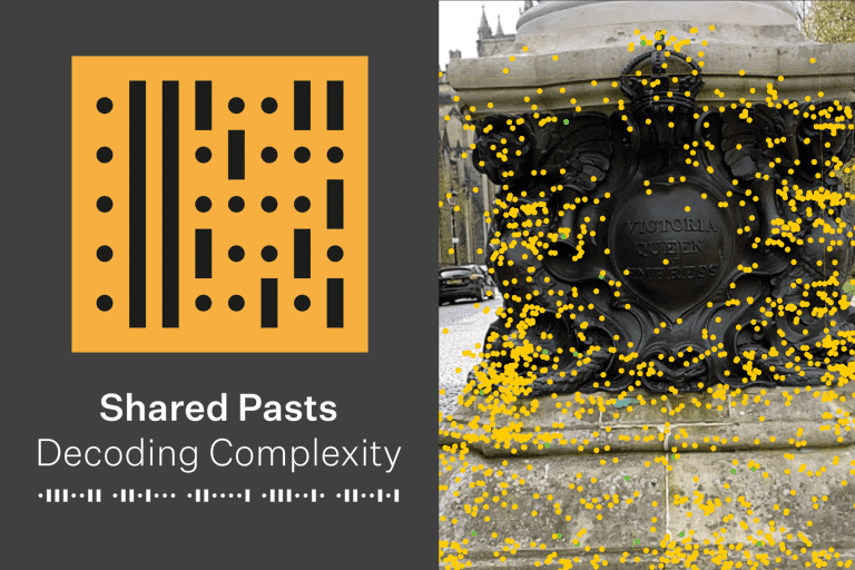 Logo saying 'Shared Pasts, Decoding Complexity' and image of monument with interactive dots around it.