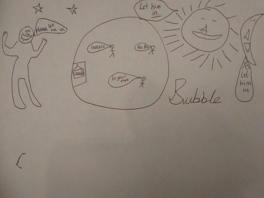 Child's drawing of life in and out of an 'isolation-bubble'