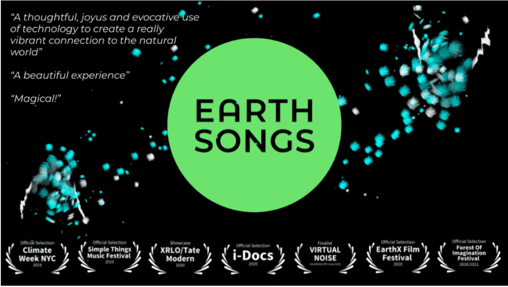 "Quotes about Earth Songs saying ""A thoughtful, joyous and evocative use of technology to create a really vibrant connection to the natural world"" and ""a beautiful experience"" and ""Magical!"""
