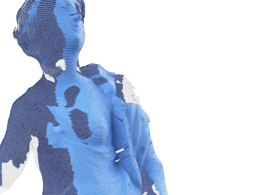 layered scan of blue statue