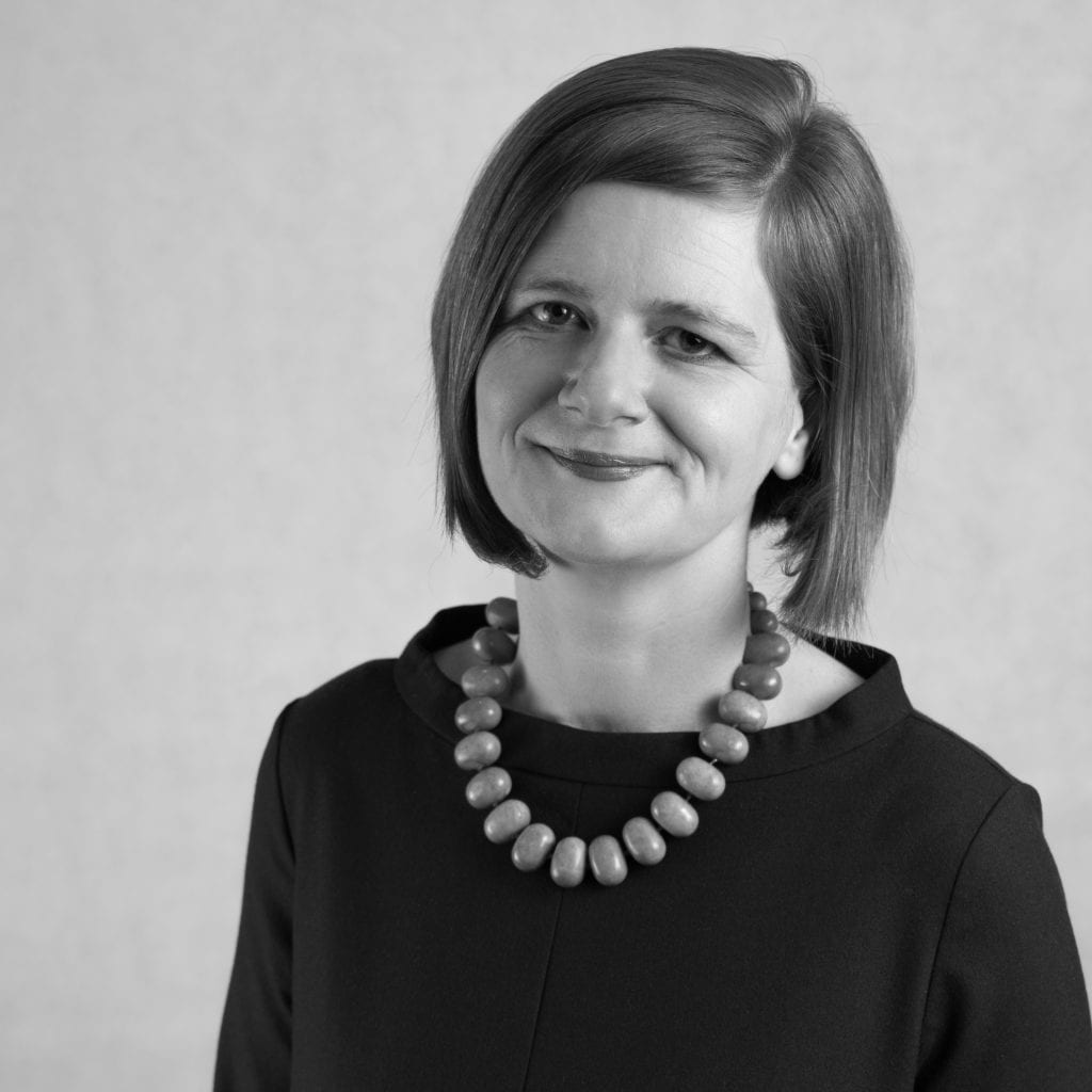 black and white image of Ciara Eastell OBE
