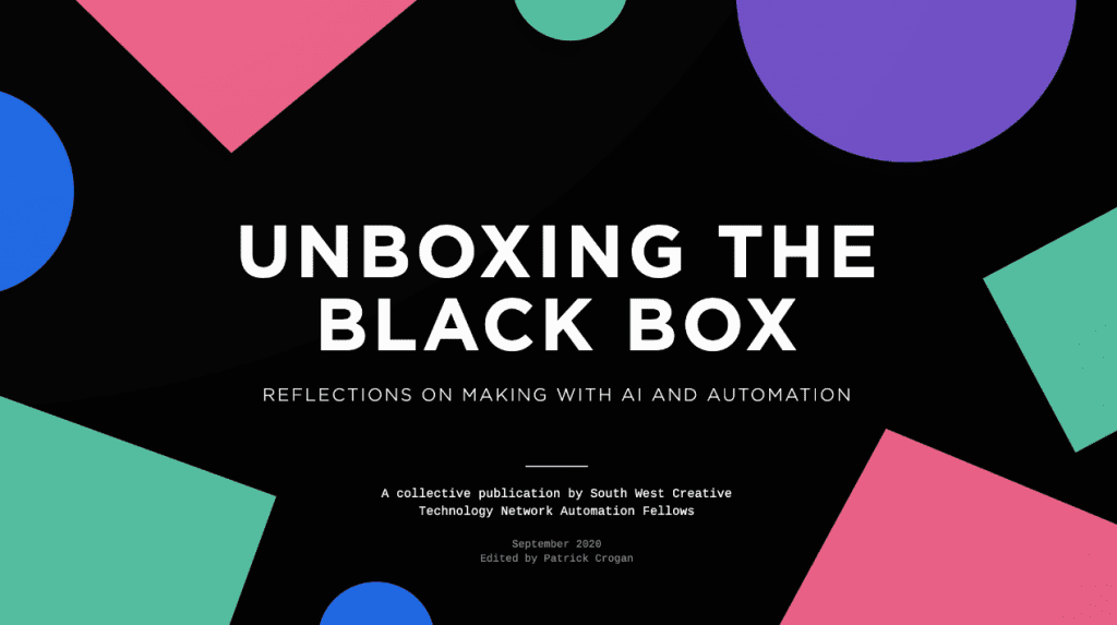 black background with abstract shapes in green, purple and pink. the text reads: Unboxing the Black Box