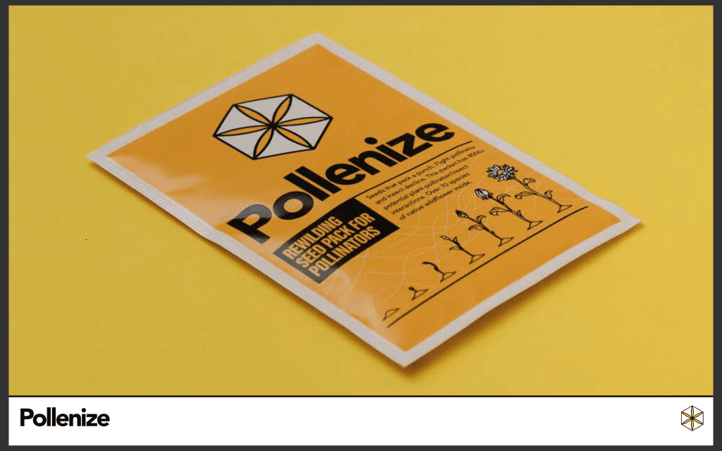a packet of seeds on a yellow background.  the seeds have drawings of flowers growing on and read Pollenize.