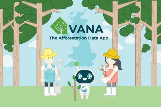 2 cartoon people and a robot are planting trees. text reads: VANA the afforestation data app