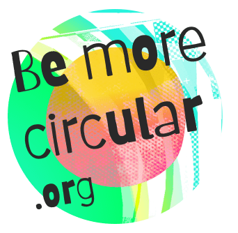 Be more circular.org is written across some brightly coloured circles