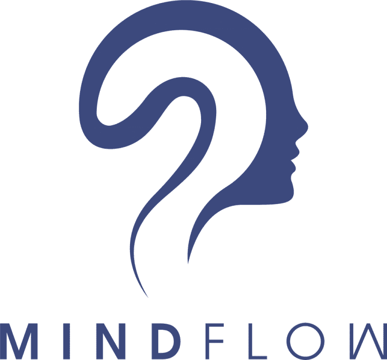 text reads: mindflow, underneath an outline of a head profile