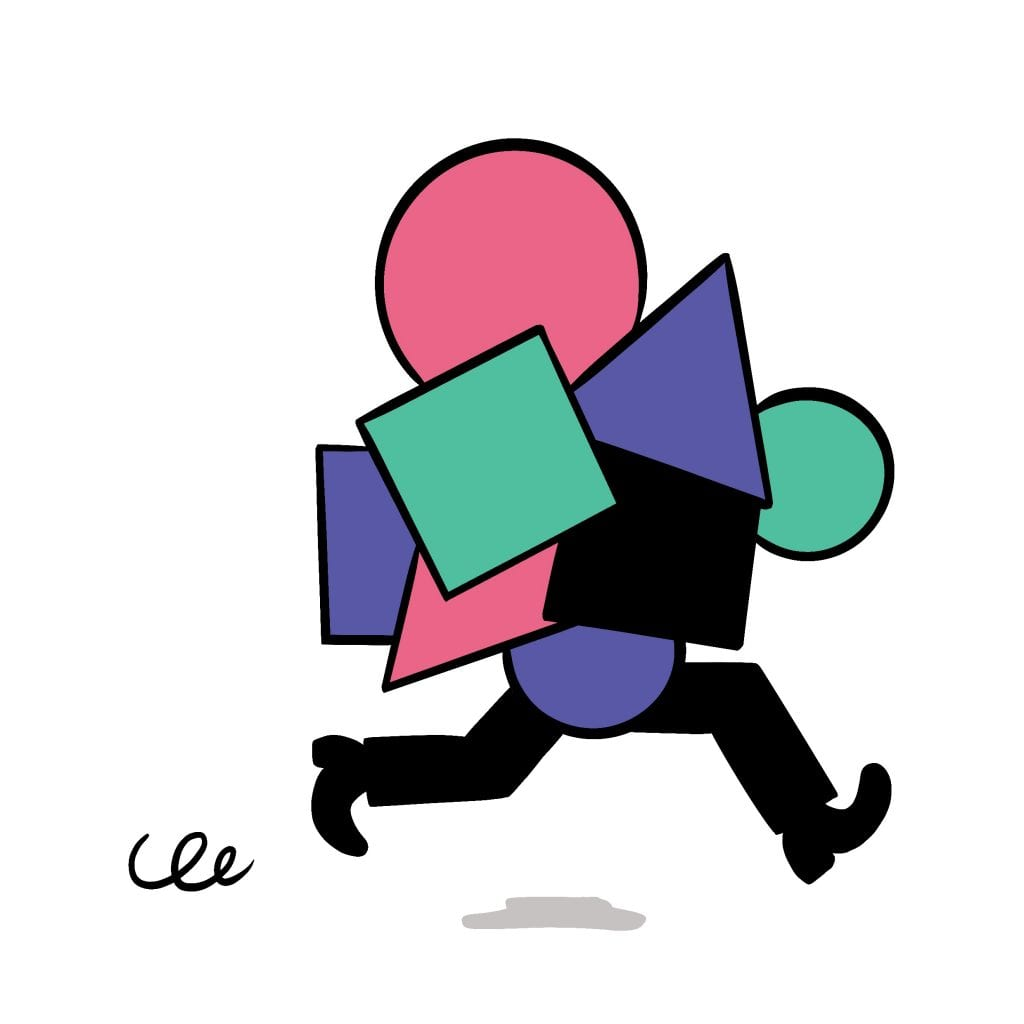 illustration of a pair of legs running, the top half of the figure is covered with circles, squares and triangles in pink, purple and green