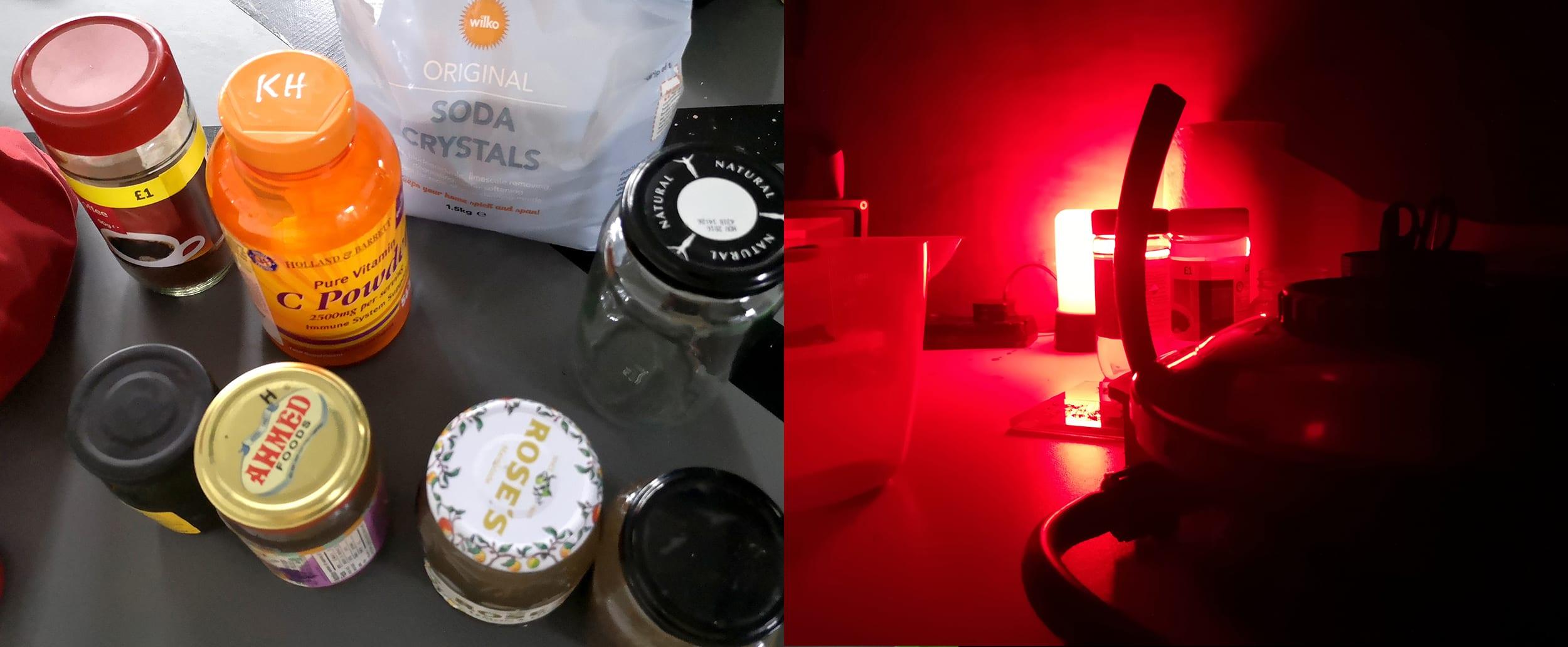 Left - Ingredients for caffenol, Right - developing film in makeshift darkroom (back of transit van)