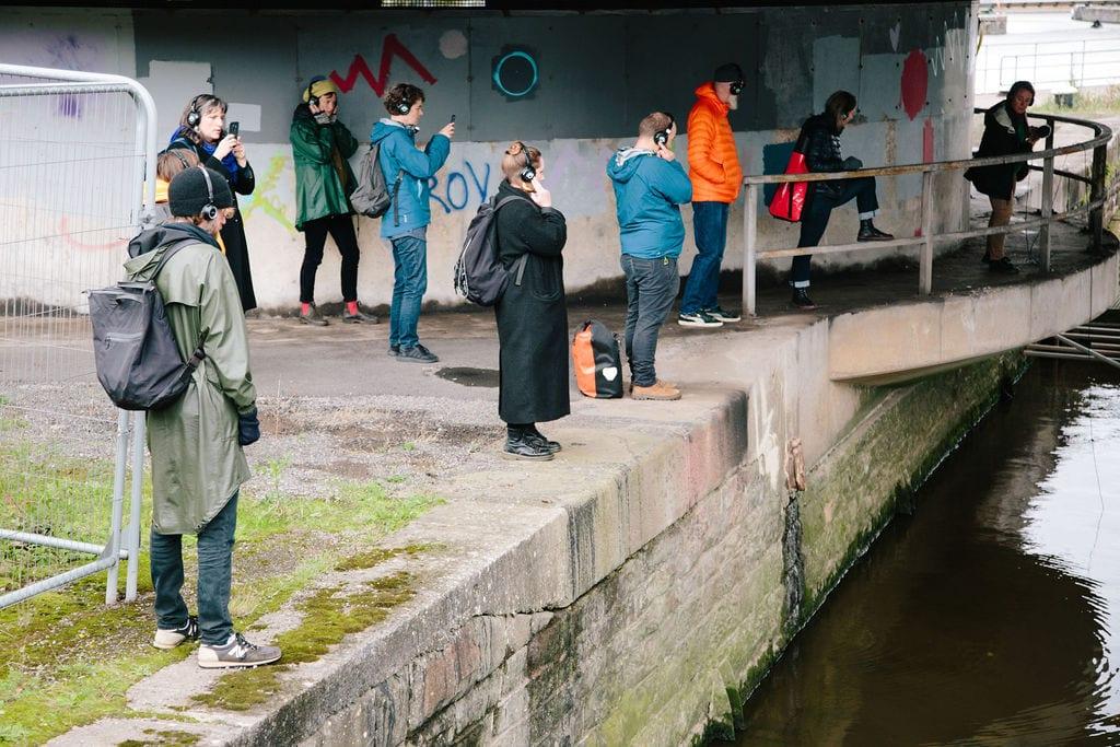 Deep Listening Walk by Kathy Hinde at Bristol Cumberland Basin for Control Shift Festival, 2020. Photo_ by Ibi Feher