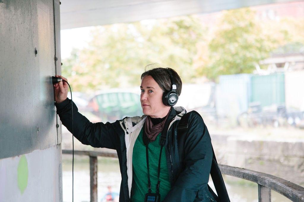 Deep Listening Walk by Kathy Hinde at Bristol Plimsole Bridge for Control Shift Festival, 2020. Photo by Ibi Feher