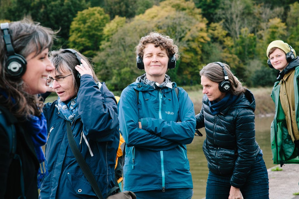 Deep Listening Walk by Kathy Hinde at Avon Gorge for Control Shift Festival, 2020. Photo by Ibi Feher