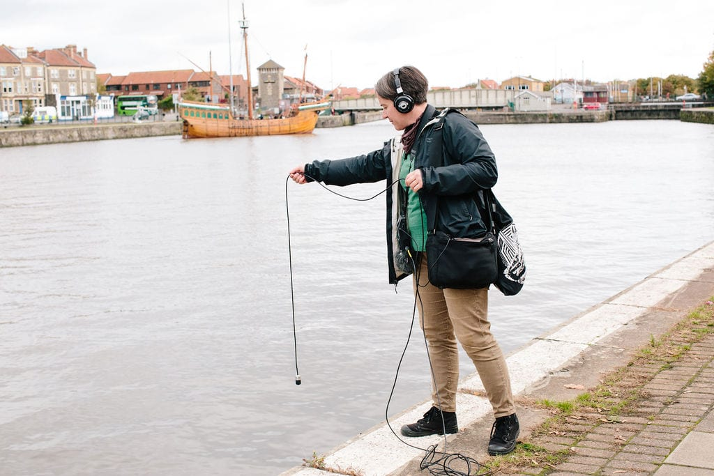 Deep Listening Walk by Kathy Hinde at Cumberland Basin for Control Shift Festival, 2020. Photo by Ibi Feher