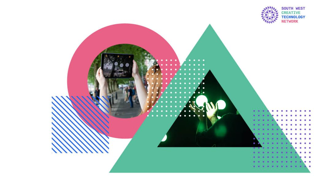 a pink circle with someone holding up an iPad, and a green triangle with a picture of some one with their hands around a glowing green orb